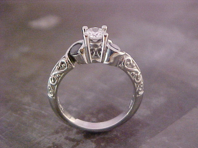 14k white gold engagement ring with center diamond and custom engraving