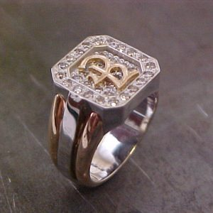 large custom ring with monogrammed engraving