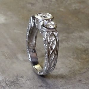 celtic white gold and diamond ring side view