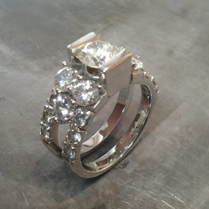 custom designed white gold and large diamonds