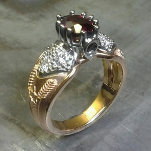 vintage victorian royalty inspired ring with gold and rubies
