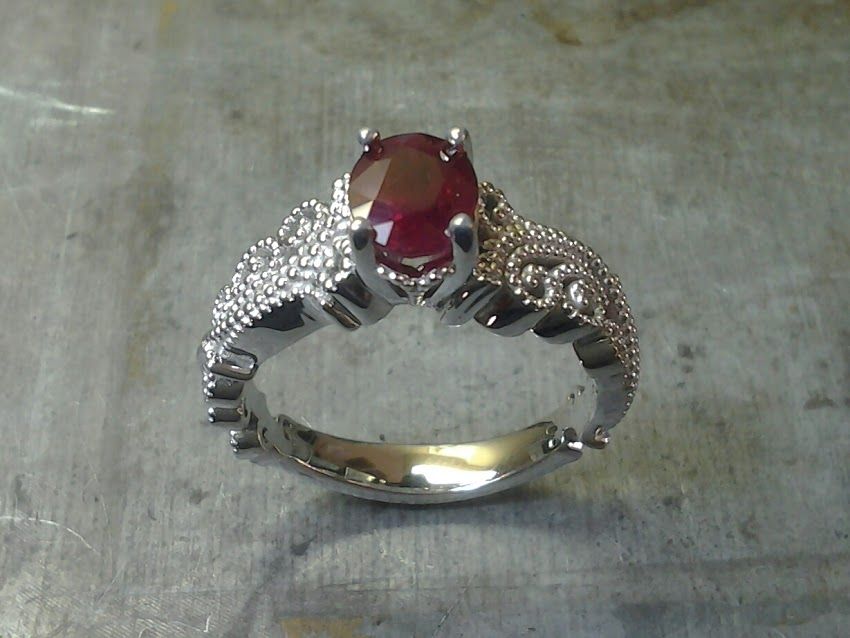 Ruby Engagement Ring with Mill-grain Filligree