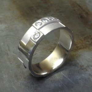 random rectangle wedding band 19k