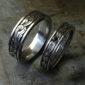 Custom matching hand engraved wedding set