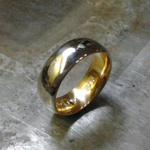 wedding band platinum exterior 18k interior