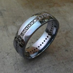 black rhodium black diamond mens wedding band