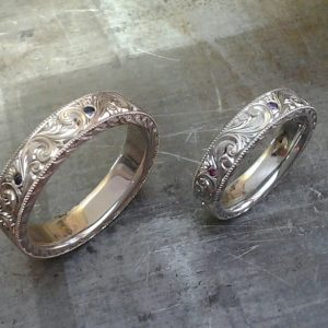 Matching hand engraved wedding bands