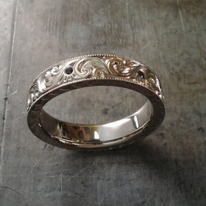 Custom Hand engraved purple diamond wedding band