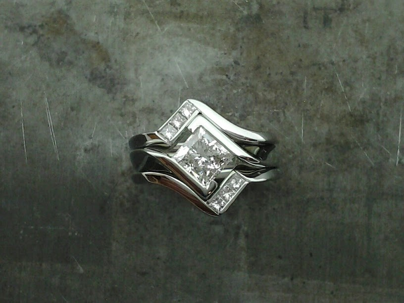 19k white gold princess cut bezel remake