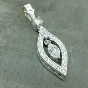 19k marquee diamond floating pendant