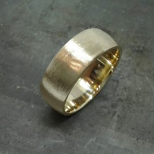 14k deep brushed 8mm wide men's wedding band