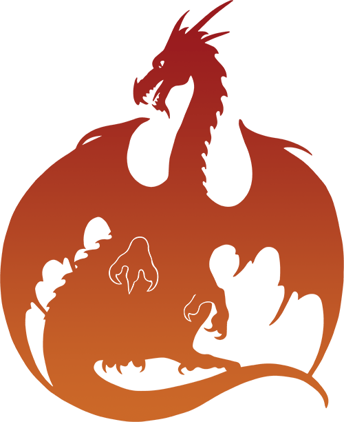 Dragon Silhouette - Red and Orange