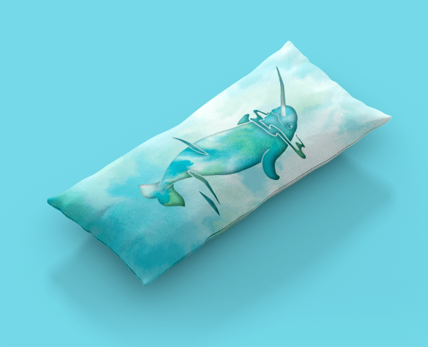 Aqua Sea Narwhal Body Pillow