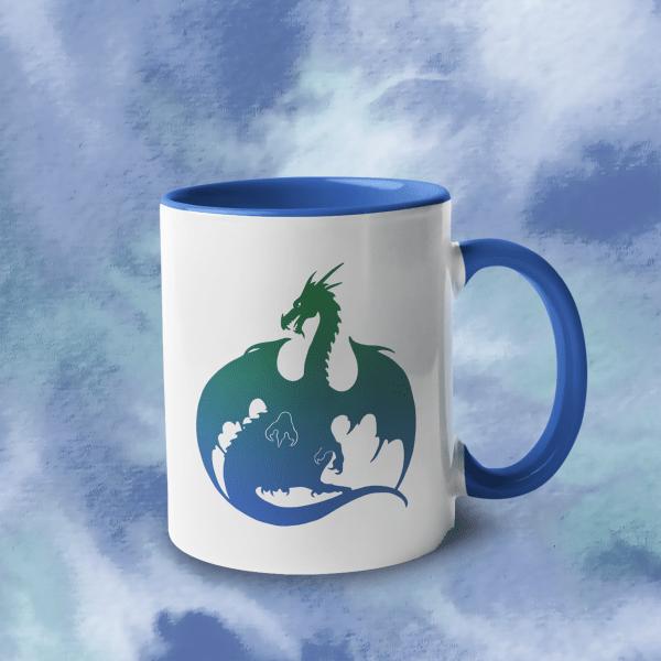 Blue Green Dragin Accent Mug