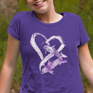 I Love Dolphins T-shirt - purple