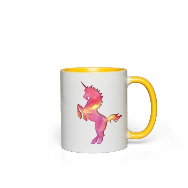 Cotton Candy Unicorn Accent Mug - yellow accents