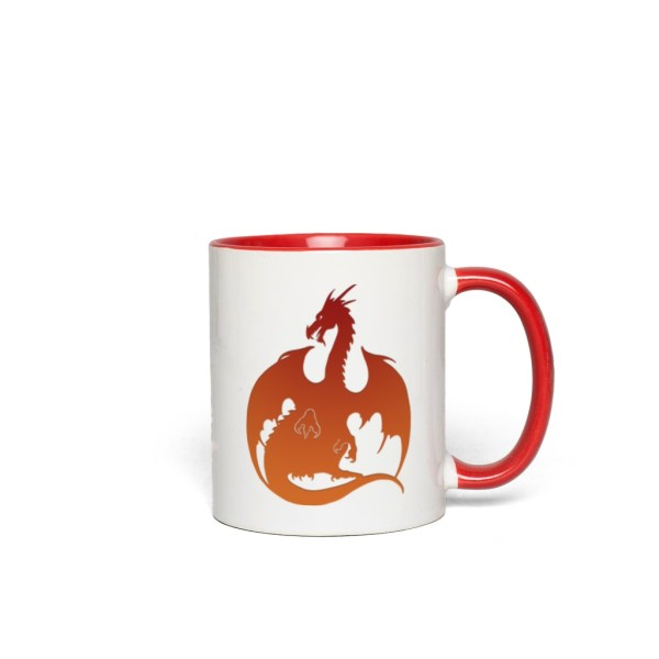Red-Orange Dragon Accent Mug - red accents