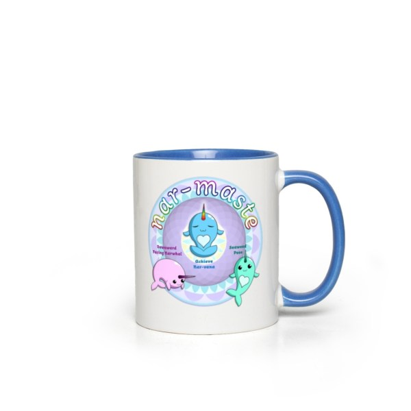 Narwhals Doing Yoga 11oz accent mug