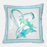 I Love Dolphins sequin pillow