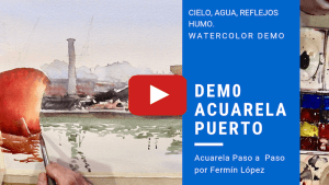 Video acuarela puerto marítimo