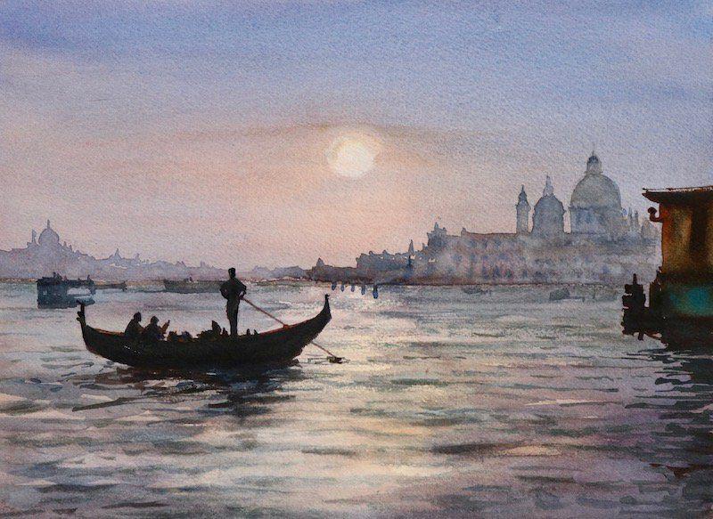 Acuarela Venecia gondola