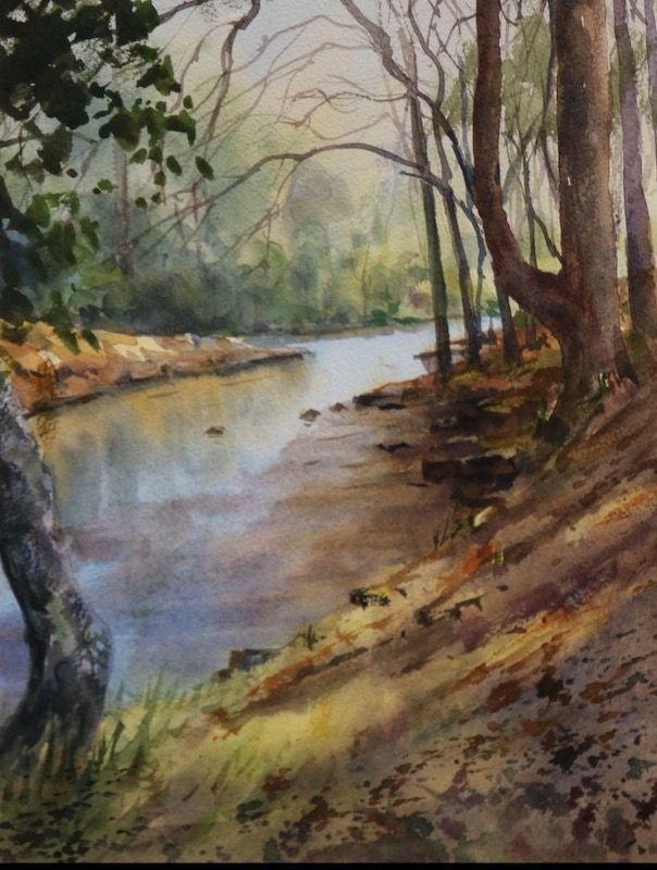 Acuarela otoño rio