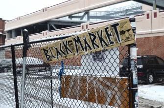 Black Market sign outside of Massasoit Elks Lodge in Cambridge.