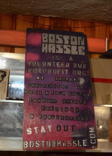 Boston Hassle sign.