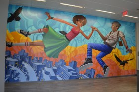 "Inside of Northeastern's newest housing dorm (East Village) is John Park's ""Reality Check II"" mural."