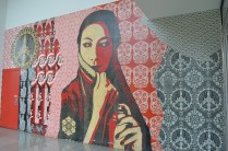 An untitled mural by Shepard Fairey is located in International Village's front entrance.