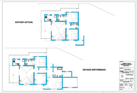 Cambio de uso de apartamento turístico a Vivienda Unifamiliar Aislada y ampliación. Puntallana.