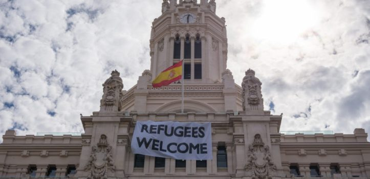 """""""Refugees Welcome"""" placard in Madrid, Spain"""
