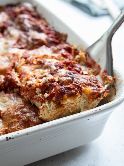Vegetarian leek & ricotta canneloni