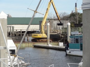 Dredging in progress at Fernandina Harbor Marina