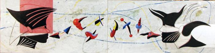 HABLANDO DE COLORES, 2010, oleo y mixta, DM, 162 x 40 cms.