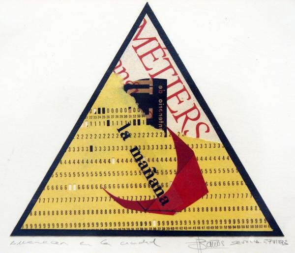 AMANECER EN LA CIUDAD 1983, mixta y collage, papel, 15 x 10 cms.