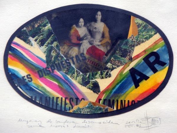 MUJERES DE BANDERA DESCONOCIDA 1983, mixta y collage, papel, 15 x 10 cms.