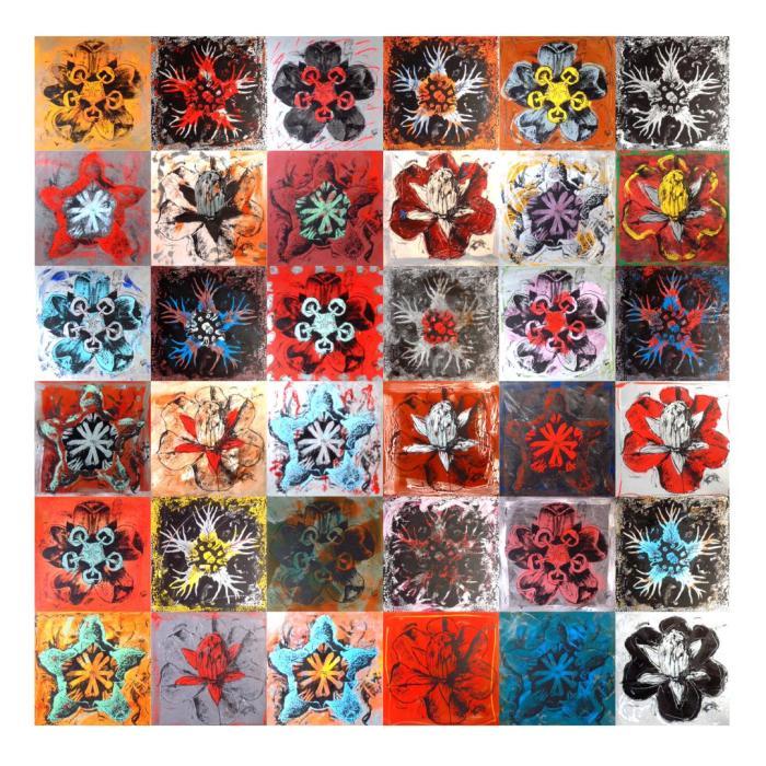 BLOSSFELDT 2003, mixta y serigrafia sobre cristal y DM, 300 x 300 cms. (montaje 36 piezas)