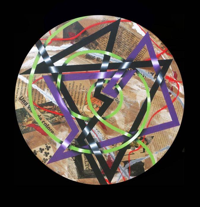 CAOS MANDALA 2014, acrilico y collage, DM, 50 cms. diametro