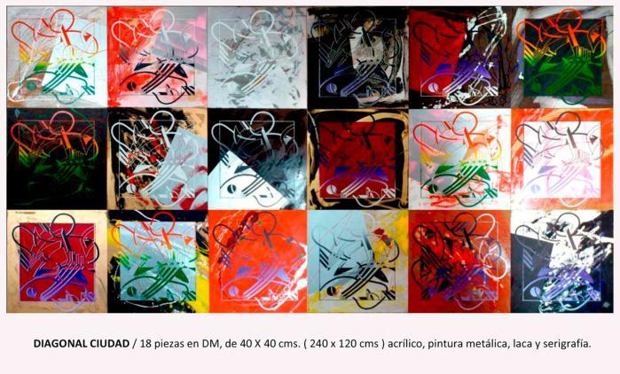 CIUDAD DIAGONAL 2013, mixta y serigafia, DM, 240 x120 cms