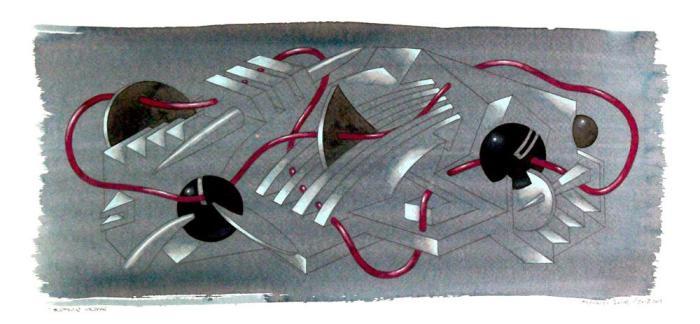ESFERAS NEGRAS 2013, acuarela, papel, tablero, 28 x 57 cms.