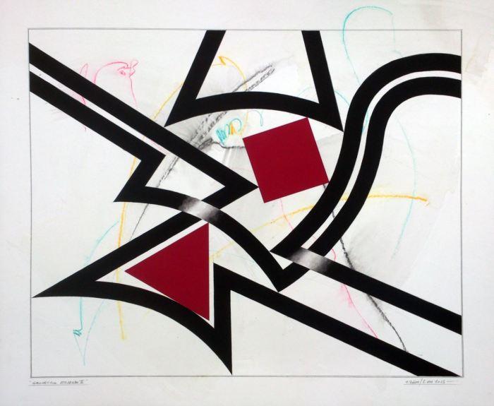 GEOMETRIA ATRAPADA III 2015, gouache y acuarela, papel, 100 x 72 cms