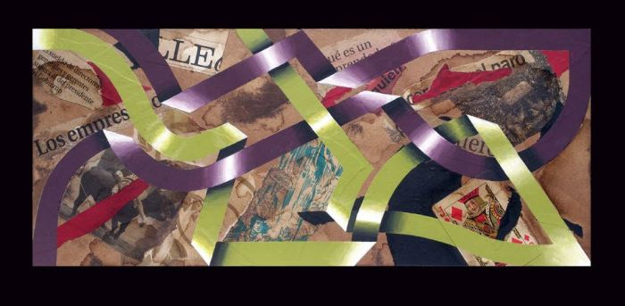 LA COGIDA 2014, acrilico y collage, DM, 50 x 20 cms.