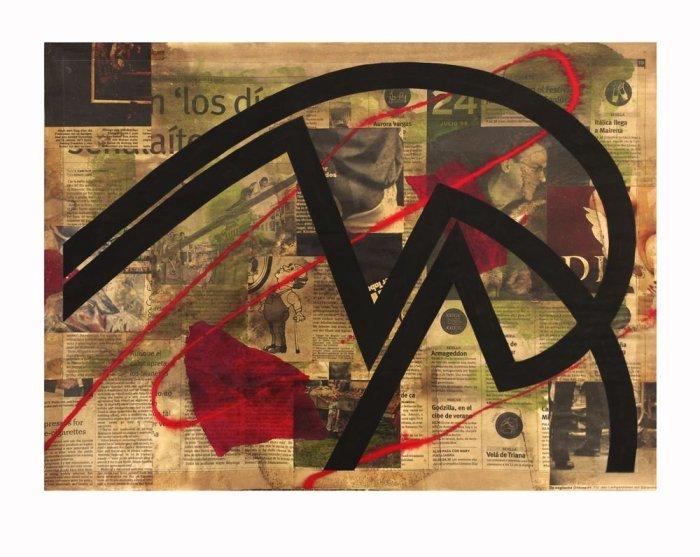 MOVIMIENTO 2014, acrilico y collage, papel, 60 x 50 cms. (13)