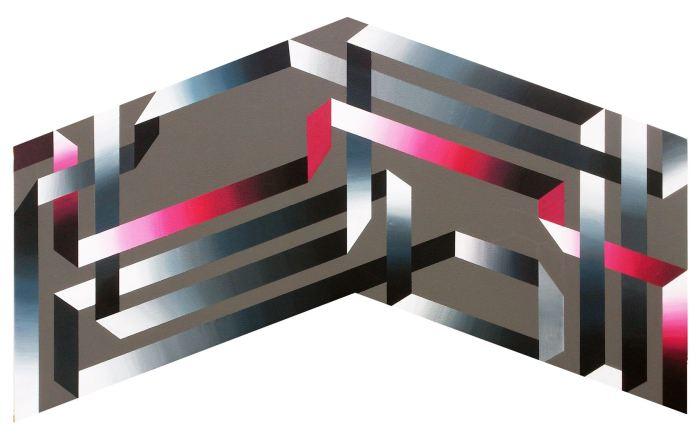 SERIE SOBRE EL COLOR- FLECHA 2014, acrilico, DM, 100 x 50cms.