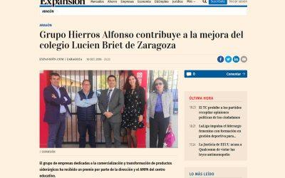 Expansión – Grupo Hierros Alfonso contribuye a la mejora del colegio Lucien Briet de Zaragoza