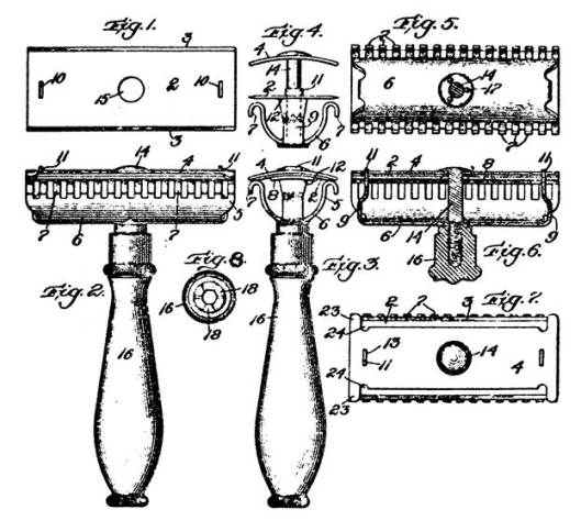 Patente de la máquina de afeitar Gillette.