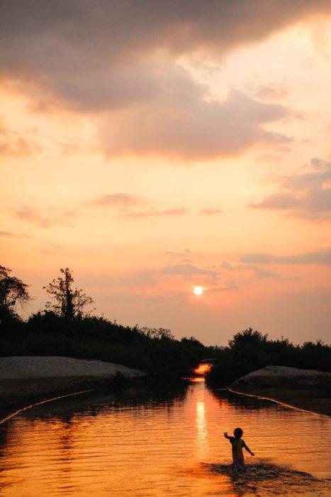 Sonnenuntergang auf Don Det - Highlight in Laos, Weltreise