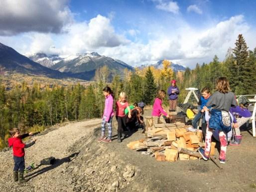 Fernie kids woodpile playing