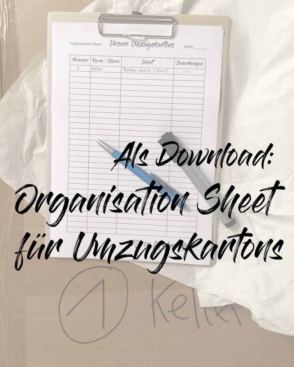 Organisation Sheet für Umzugskartons